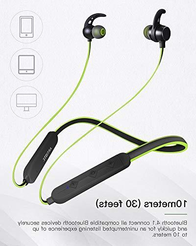 Headphones Bluetooth Earphones Earbuds Magnet Mic,Anti-Jam V4.1 Time,Sweatproof Stereo Bluetooth Devices-Green/Black