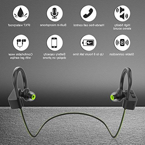 LETSCOM IPX7 Waterproof, Wireless Bluetooth HiFi Bass Noise for Workout, Gym, 8 Hours Play