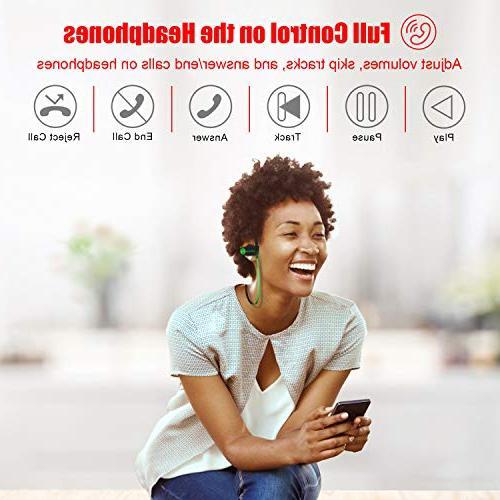 LETSCOM Waterproof, Wireless Bluetooth Stereo Sweatproof w/Mic, Noise Cancelling Headset Workout, 8 Hours Play