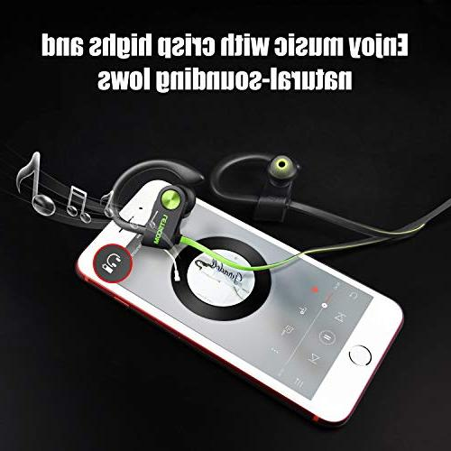 LETSCOM Bluetooth Headphones Waterproof, Wireless Sport Bluetooth Stereo Earbuds Noise for Workout, Gym, Hours Time