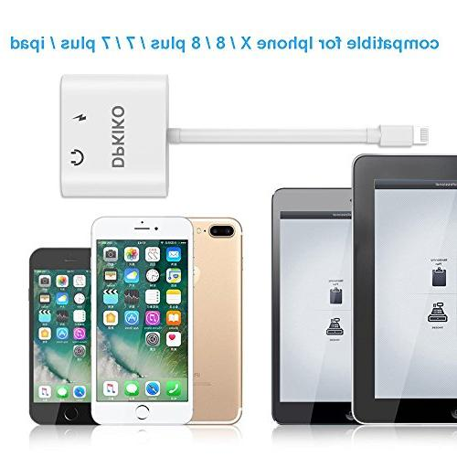 DPKIKO Adapter Splitter 7, 7Plus, 8, 8Plus, X, 8 Pin Earphone Jack Charge & Connector Charger