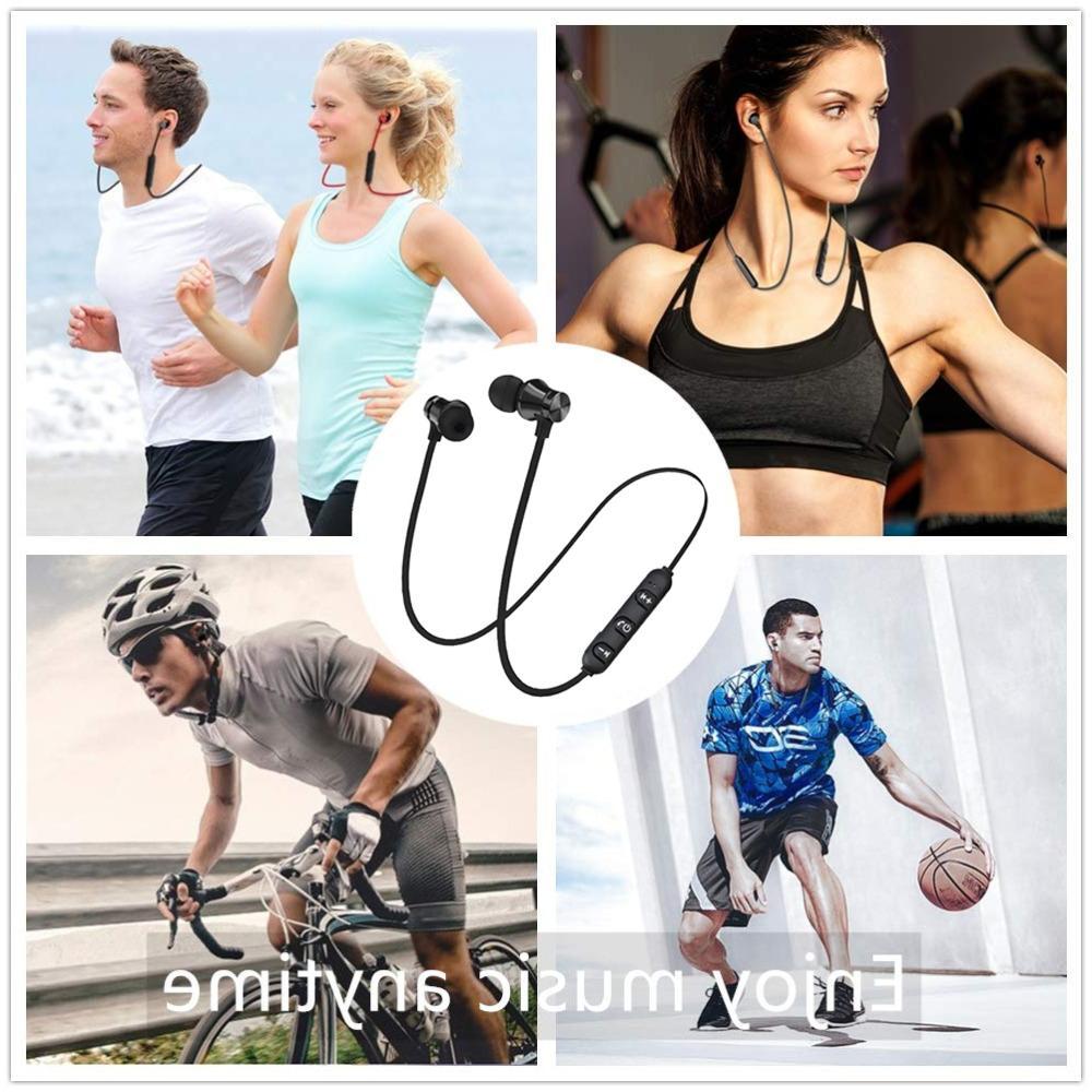 Magnetic <font><b>Wireless</b></font> Bluetooth Earphone Stereo <font><b>Earbuds</b></font> <font><b>Wireless</b></font> Mic IPhone 7 Samsung