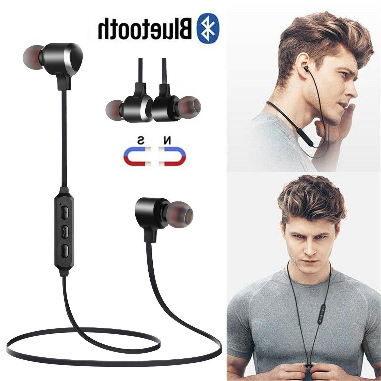 magnetic wireless bluetooth earphone sports headset stereo