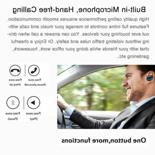 Mini 5.0 Bluetooth Headset Earbuds Wireless Earphones Single Earpiece