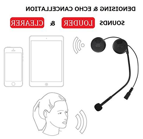 NikoMaku Bluetooth Helmet Headset for Helmets with Microphone Sound for Silm