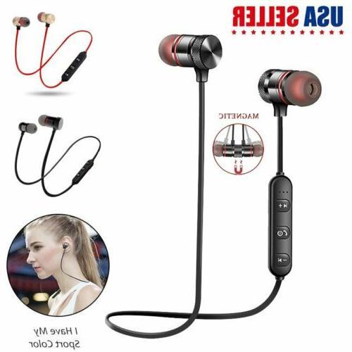 pair bluetooth headset wireless sport stereo headphones