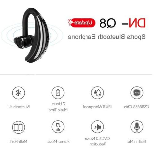 MPOW Q8 Bluetooth Headset Handsfree Wireless Earpiece Reduction Mic