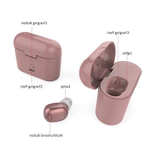 NENRENT Mini V4.1 Wireless Bluetooth Headset Headphone Earphone with 400mAh Charging Case for iPad Galaxy LG Rose