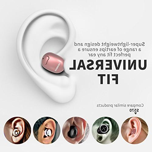 NENRENT S570 Mini Wireless Earpiece Headset Earphone with Calls for iPad Galaxy LG and Rose Gold