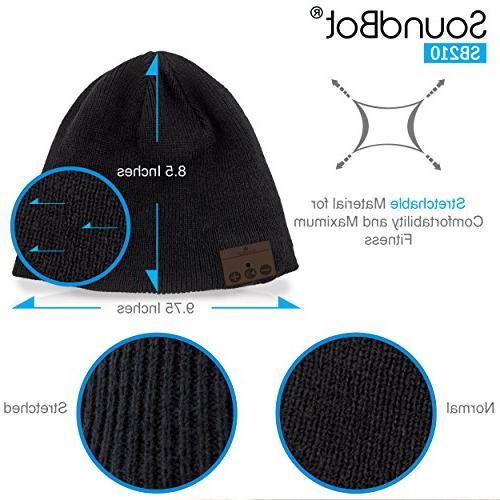 SoundBot¨ Stereo Bluetooth Wireless Smart Knit Headphone Speaker Speakerphone Cap,Built-in