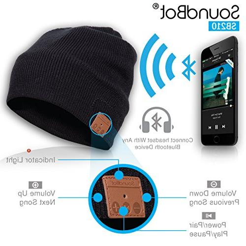 SB210 Stereo Bluetooth 4.1 Smart Headset Musical Knit Speakerphone Cap,Built-in Mic