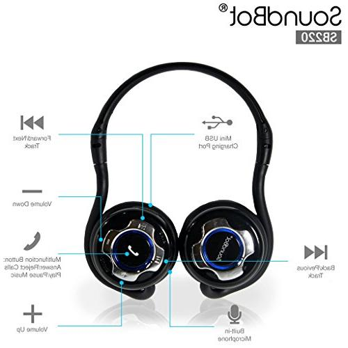 SoundBot SB220 Bluetooth Noise-Reduction Stereo for Stream & Calling w/ 20 Talk and 400 hrs Built-in