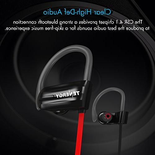 Tenergy T20 Headphones, IPX7 Earphones for Noise Canceling 8-Hour in-Ear Bluetooth Stereo Earbuds Sport