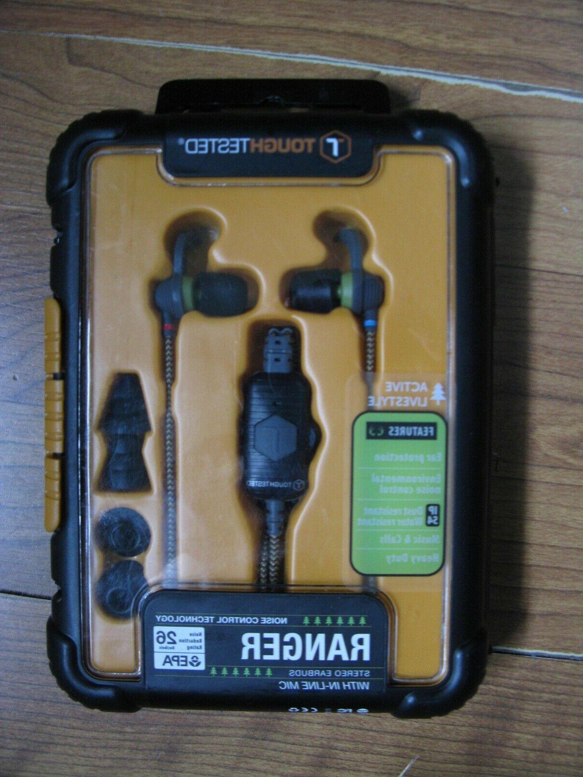 toughtested ranger stereo earbuds with in line