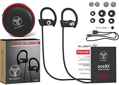 TREBLAB Best Wireless Sports, Running Workout. 2017 Version. IPX7 Headset. w/ Mic