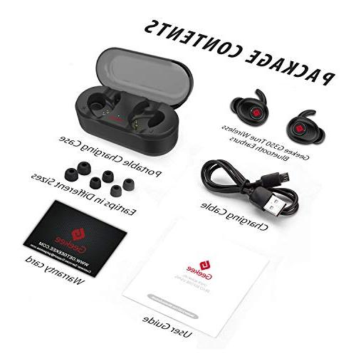 True Earbuds 5.0 TWS Mini w/Mic Extra Bass Sweatproof Pairing Case Cancelling