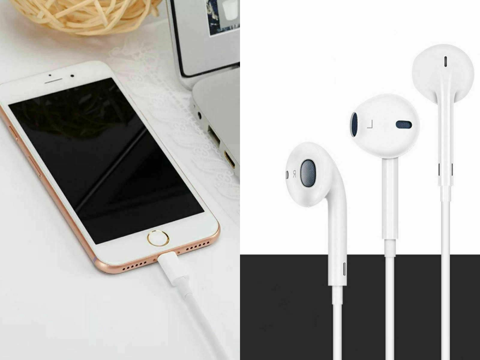 Wired Earphones Earbuds For iPhone 7 XR w/Remote