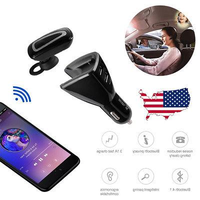 wireless bluetooth handsfree car charger kit earbud