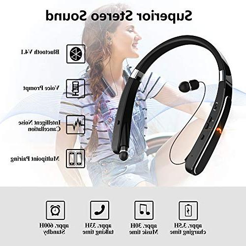 Wireless Headset, EGRD Foldable Neckband Compatible Plus Samsung S9 Note 8