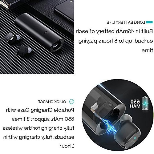 Wireless Earbuds, Bluetooth Headphones 5.0 Mini Headset Microphone Hands Sweatproof with Box/Case for iPhone Samsung Android