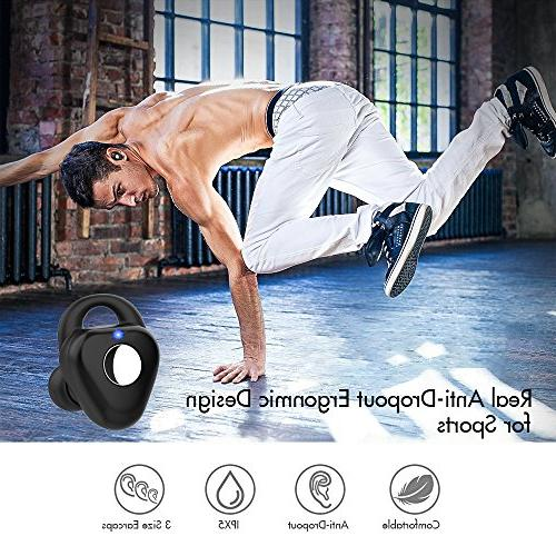 Wireless Earbuds, Dual Bluetooth Mini In Cancelling Earphones Sweatproof V4.2 Built-in and for iPhone
