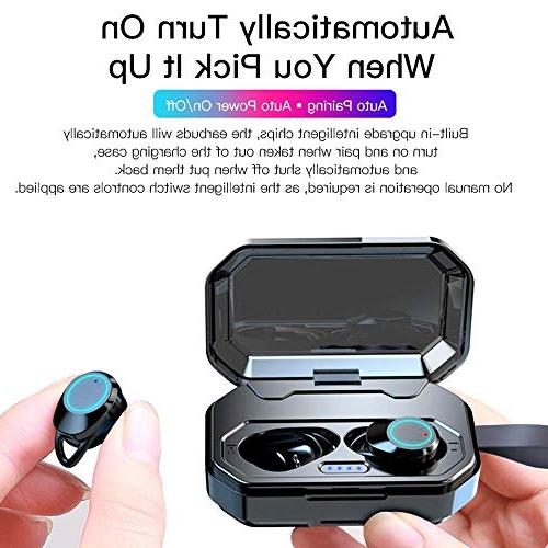 TiKa Earbuds, 5.0 Waterproof M1 True Wireless in Ear Earphones Case Deep HiFi Bass