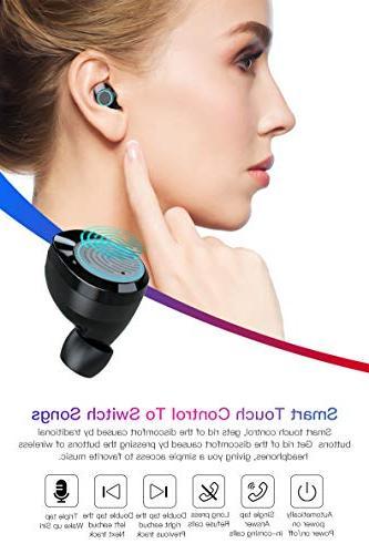 TiKa Wireless 5.0 Stereo M1 Ear Earphones with Case Mic HiFi