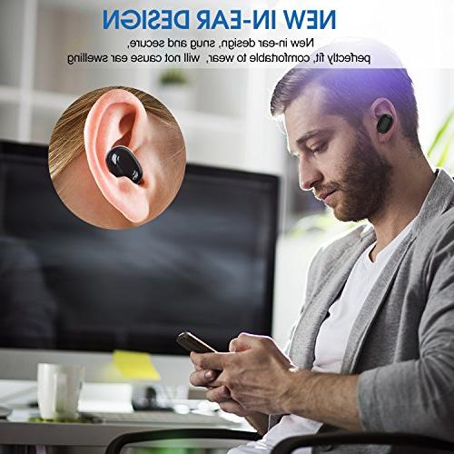 Wireless Earbuds, TUSBIKO Mini Dual Bluetooth Mic, in HD Stereo Invisible Reduction Headset for iPhone Smartphone