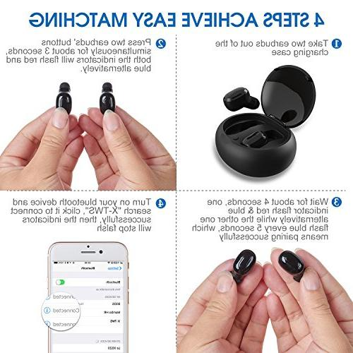 Wireless Dual Mic, in HD Stereo Bluetooth Invisible Headset Smartphone