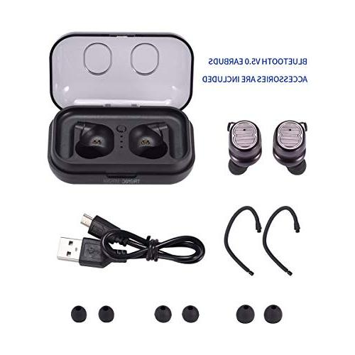 Wireless Earbuds, TronicMaster Bluetooth v5.0 True Wireless Sports Headphones 16H 3D Noise Headsets Portable Box Hooks