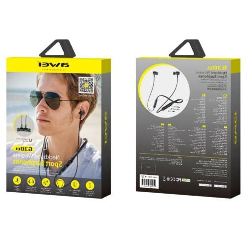 Wireless Earphone Neckband Stereo Earbud Headphone for iOS Android