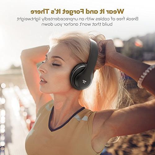 Bluetooth Headphones, TaoTronics Headset with Memory Foam Ear 40mm Drivers