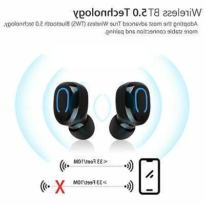 Wireless BT Headphone Earbuds w/Mic HiFi Noise