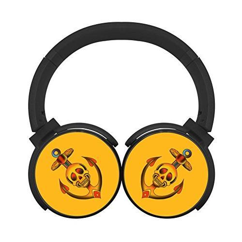 yellow skull anchor bluetooth headphone