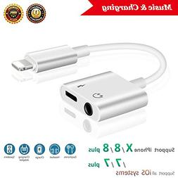 Lightning Jack Headphone Adaptor Charger for 8/8 Plus iPhone