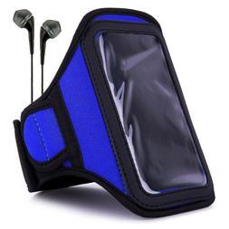 VanGoddy Moisture Resistant Blue Armband + Black Earbuds Sui