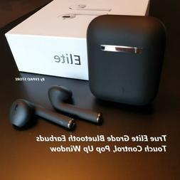 NEW BLACK Elite Grade Airpods Style Headphones Wireless Earb