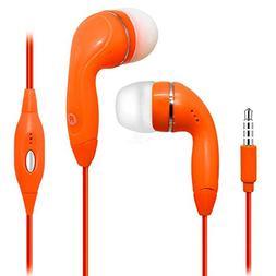 Orange Color 3.5mm Audio Earphone Headphones Headset Earbuds