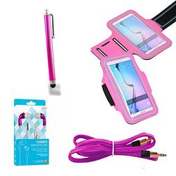 Pink Armband Exercise Case and Stereo Kit fits ZTE Max Duo L