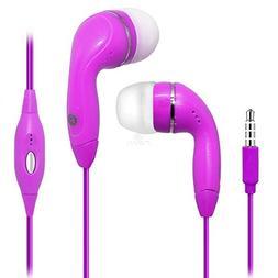 Hot Pink Color 3.5mm Audio Earphone Headphones Headset Earbu