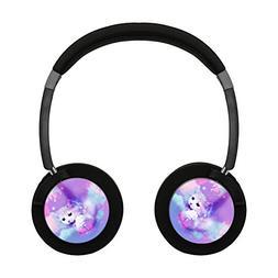 Pink Galaxy Cat Bluetooth Headphone Over-Ear Earphones Noise