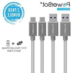PowerBot PB303 2-Pack Data Sync 2.4A Charging Cable 5Gbps Hi