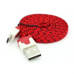 Selna RED 3ft Premium Braided Flat Micro USB Cable Data Sync