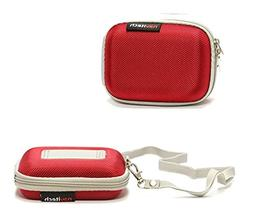 Navitech Red Hard Protective Earphone / Headphone Case for S