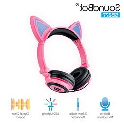 SoundBot SB277 Flashing Glowing LED Cat Ear Fordable Wired O