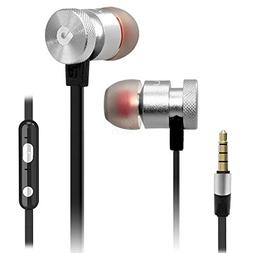 silver color headphone universal hands free 3