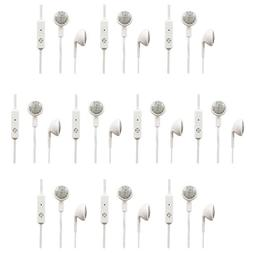 10 Pack Fenzer White Headphones w/ Mic Earphones Earbuds Hea