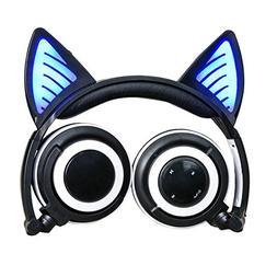 Wireless Bluetooth Cat Ear Headphones,SNOW WI Flashing Glowi