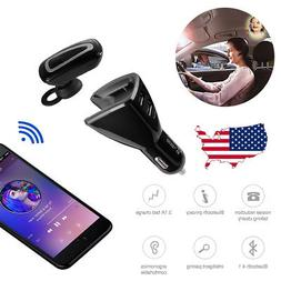 Wireless Bluetooth Handsfree Car Charger Kit + Earbud Earpho