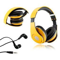 Yellow Adjustable Circumaural Over-Ear Earphone Stero Headph